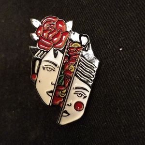 New woman split face with flowers pin